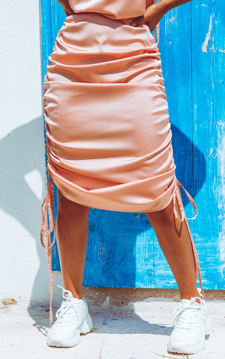 Peach Ruched Satin Mini Skirt  2