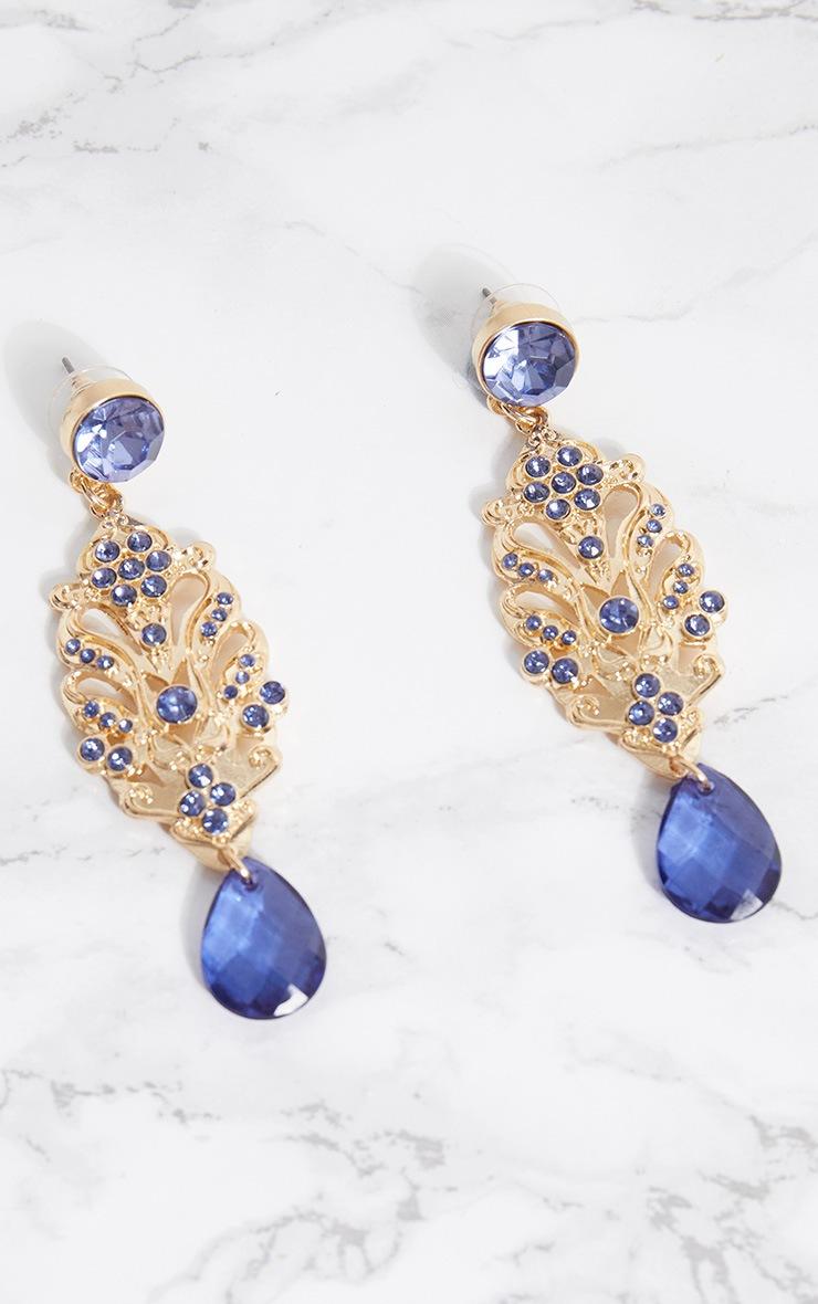 Gold Detailed Blue Gem Drop Earrings 3