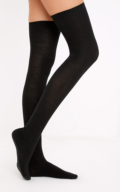 0b9ea43762a Basic Black Over the Knee Socks