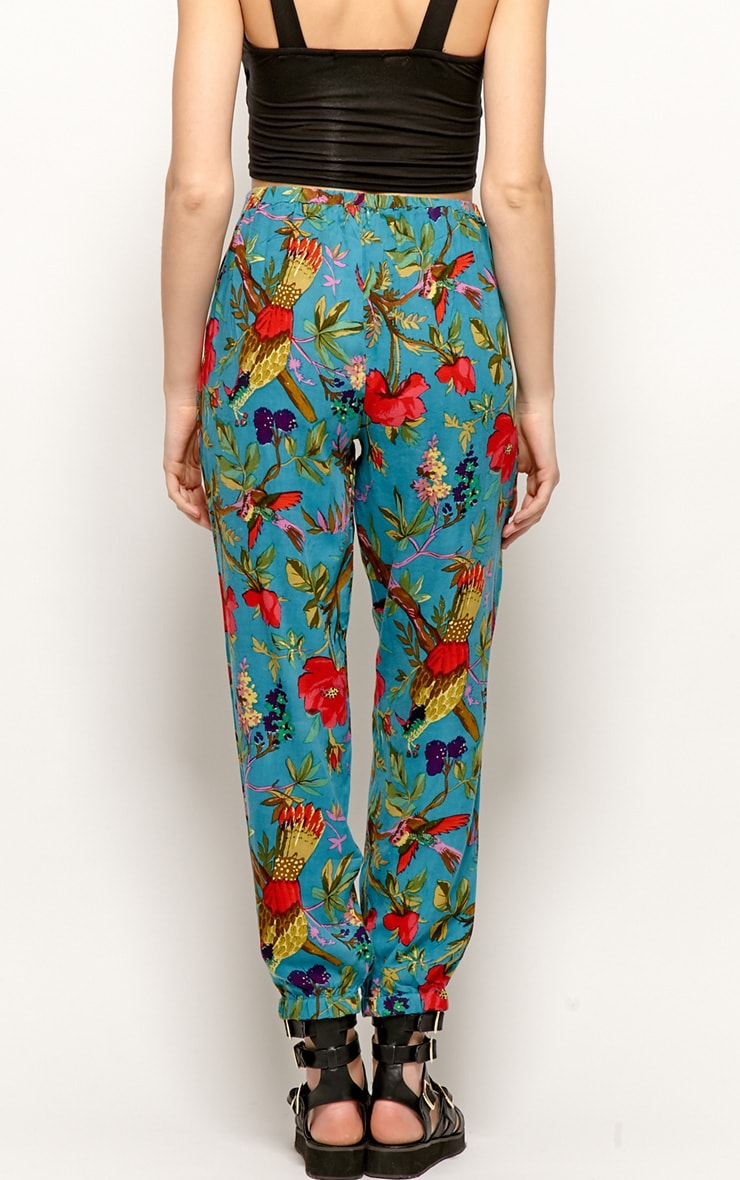 Tilly Turquoise Tropical Print Trousers 2