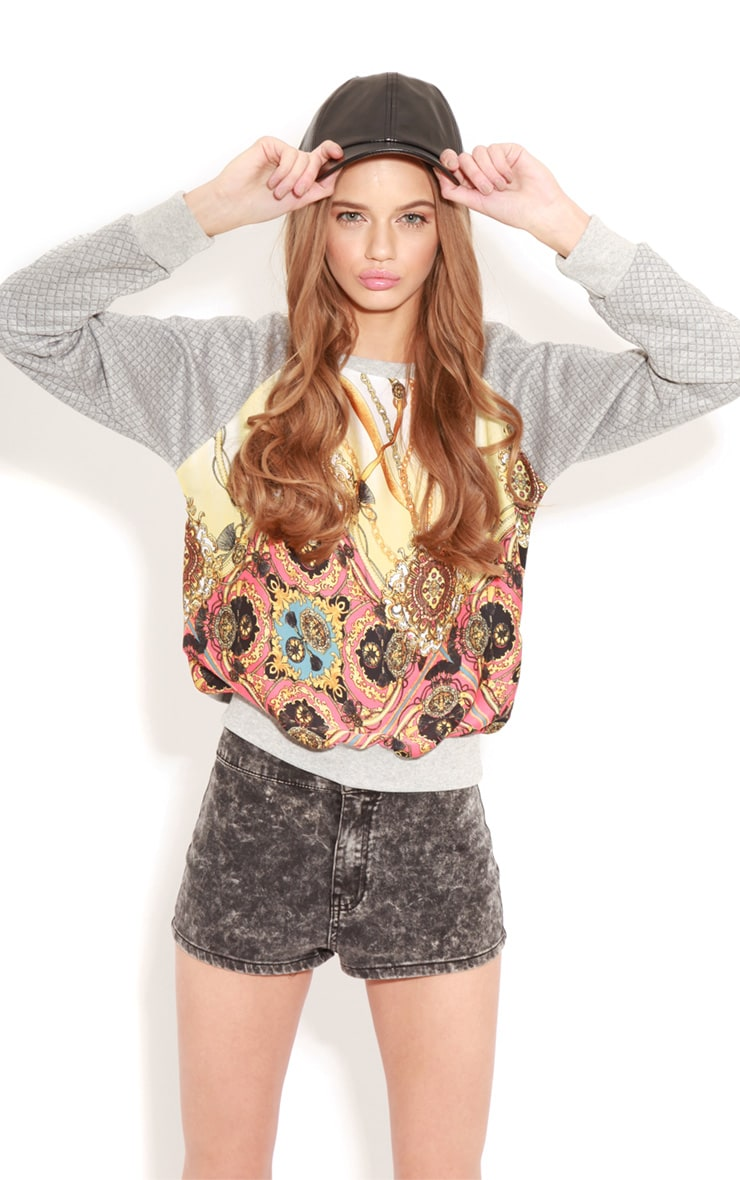 Iris Grey Quilted Jumper With Silk Print 3