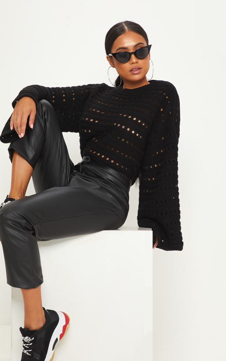 Petite Black Flared Sleeve Jumper 1