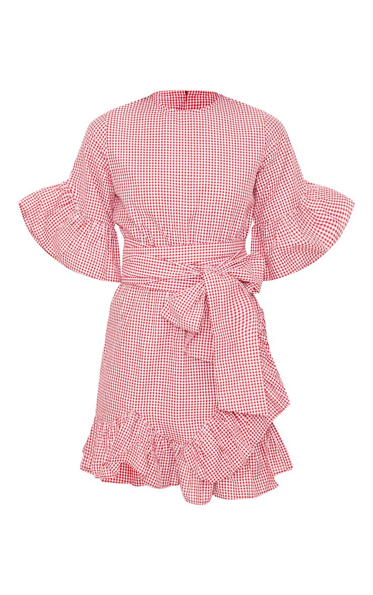 Aaliyah Red Gingham Frill Detail Mini Dress 3