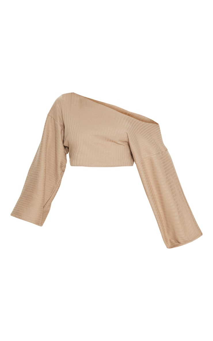 Taupe Rib Off The Shoulder Crop Top 3
