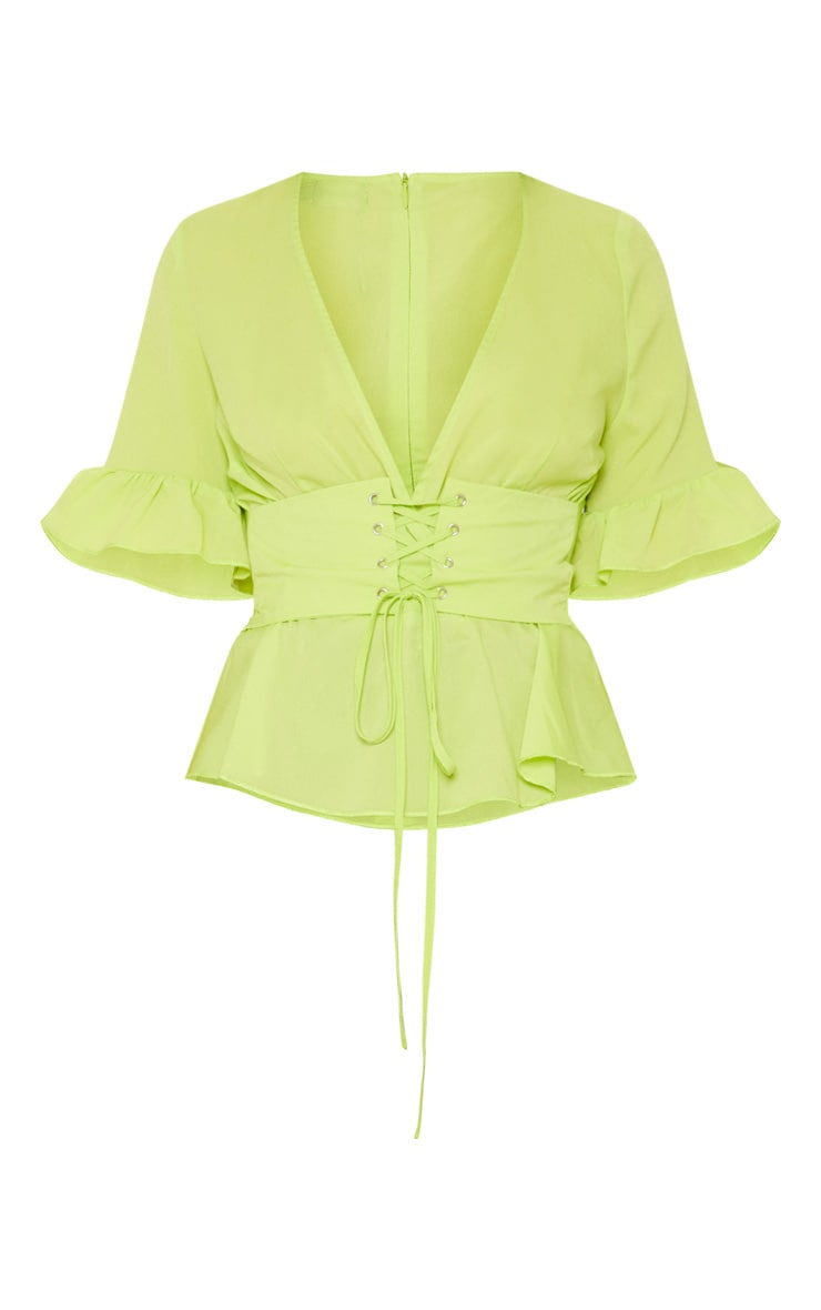Neon Green Frill Sleeve Corset Blouse 3