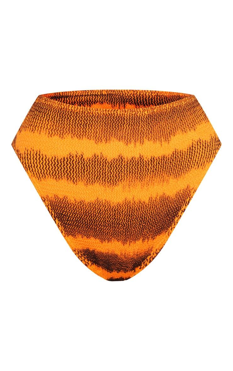 Orange Tie Dye Crinkle High Waist Bikini Bottom 6