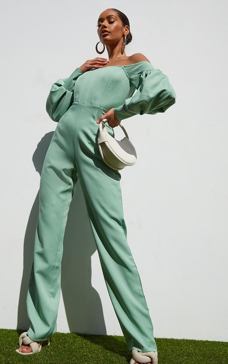 Sage Green Bardot Balloon Sleeve Corset Jumpsuit 1