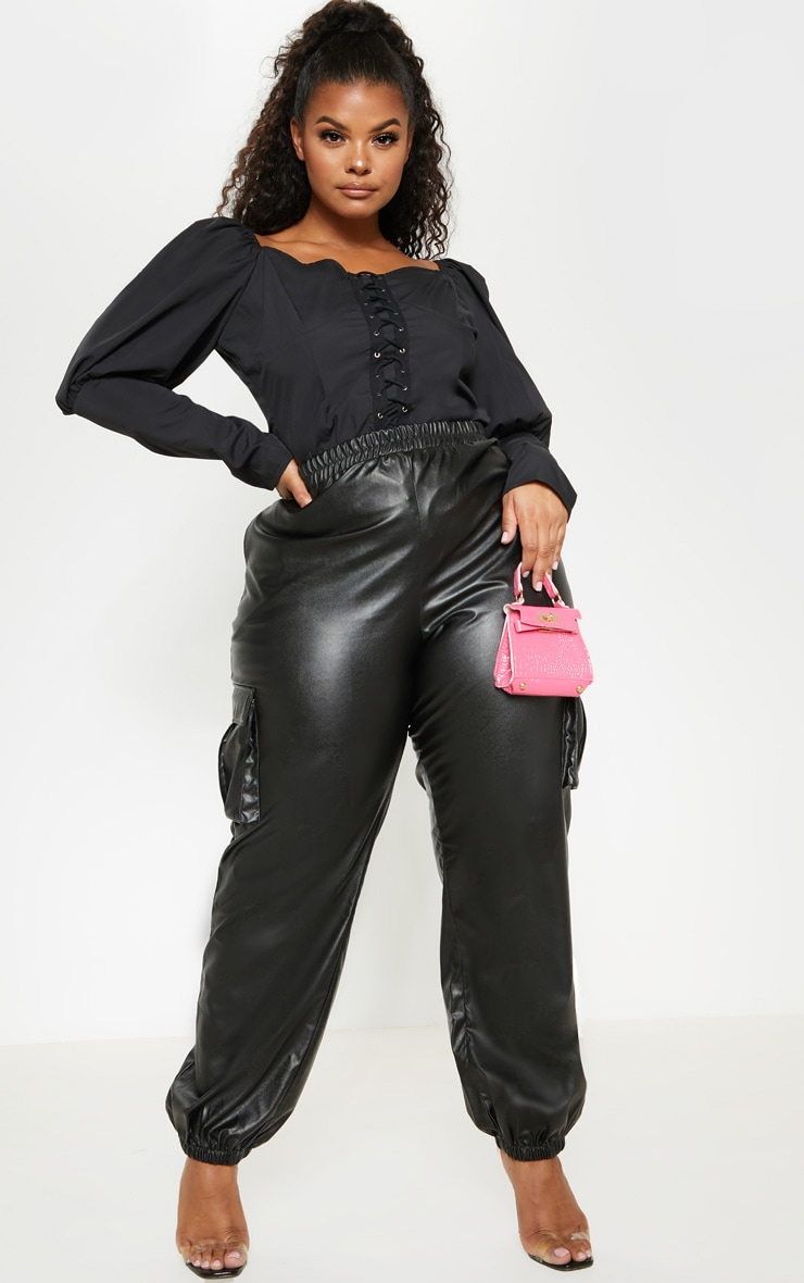 Plus Black Lace Up Cup Detail Puff Long Sleeve Top 4