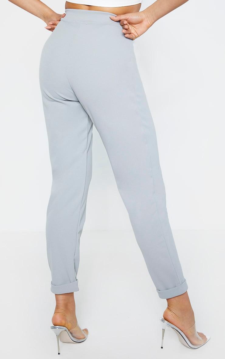 Tall Grey  Basic Roll Cuff Crepe Pants 4