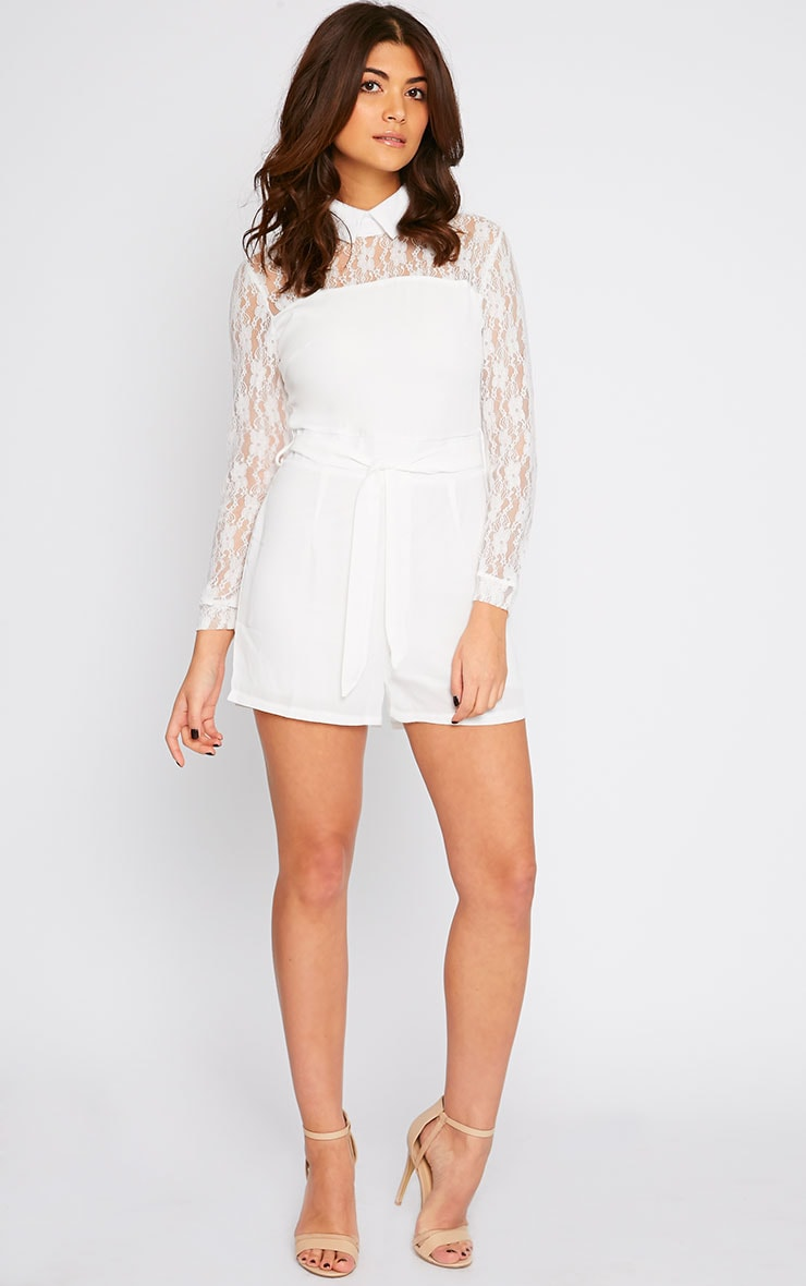 Nicky Cream Lace Long Sleeve Collar Playsuit 3