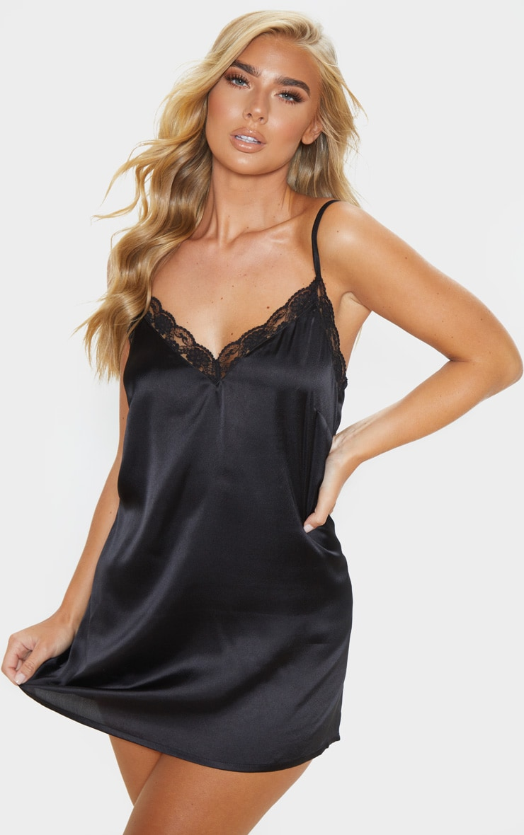 Black Lace Trim Satin Nightie 1