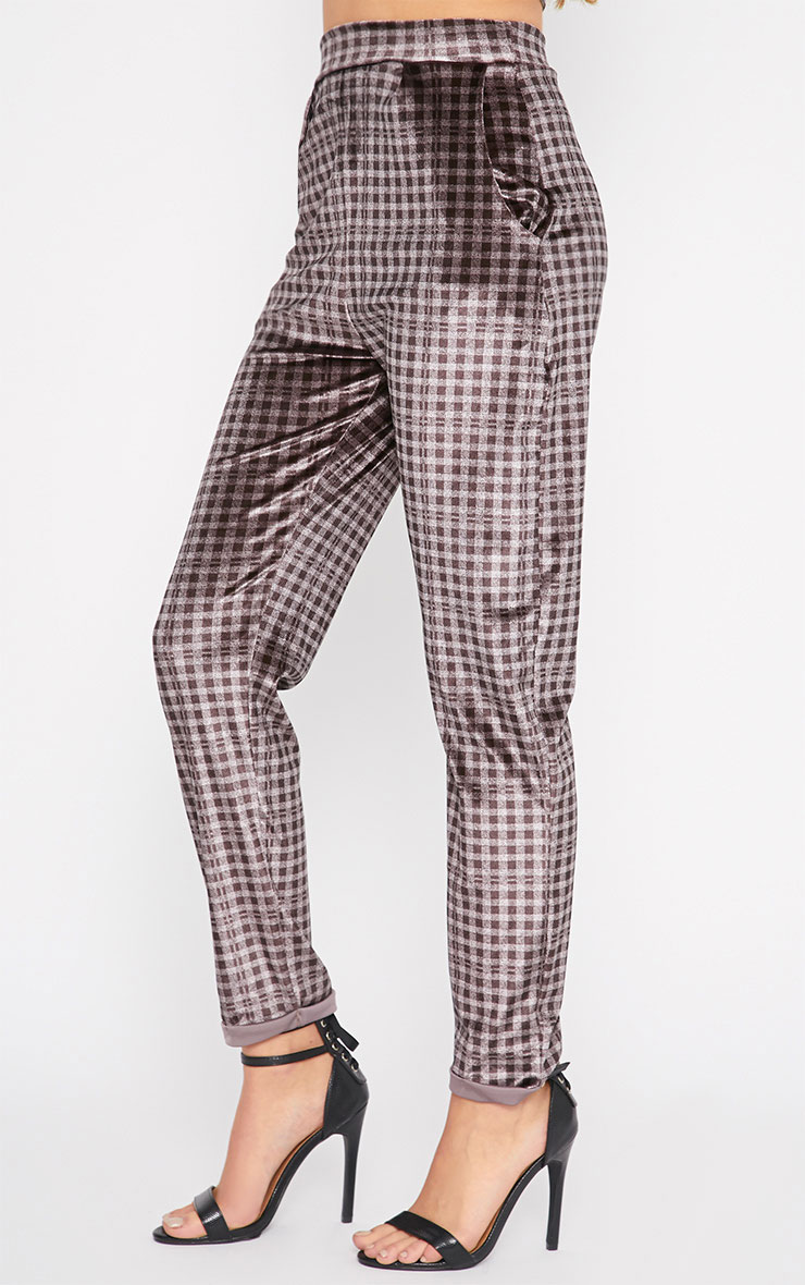 Grete Grey Tonal Gingham Velvet Tapered Trousers 4