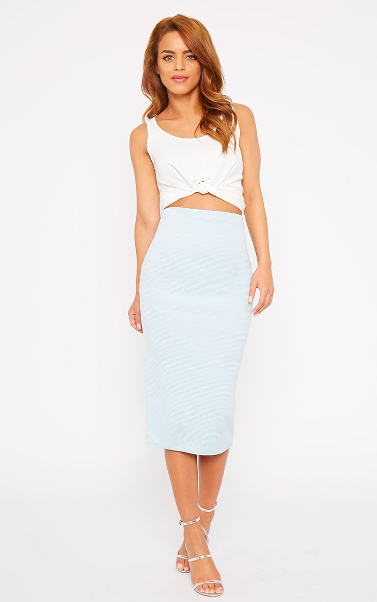 Morgan Powder Blue Ribbed Midi Skirt  1