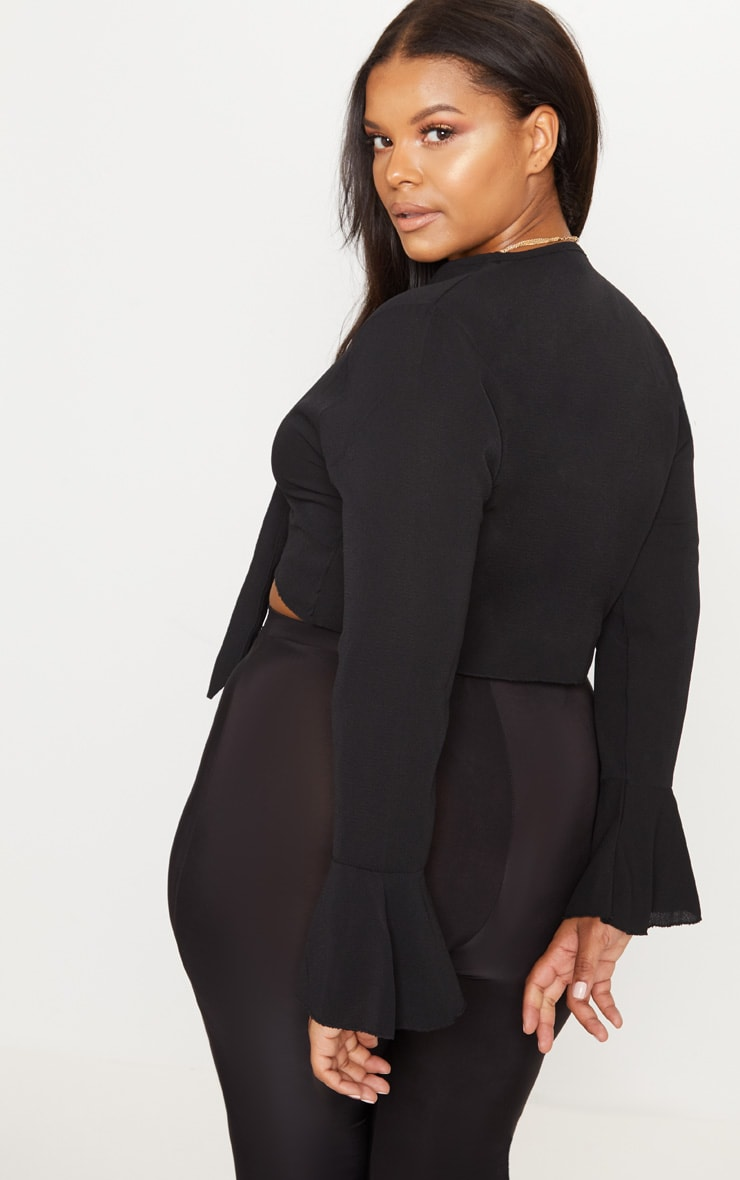Plus Black Tie Front Frill Sleeve Blouse 2