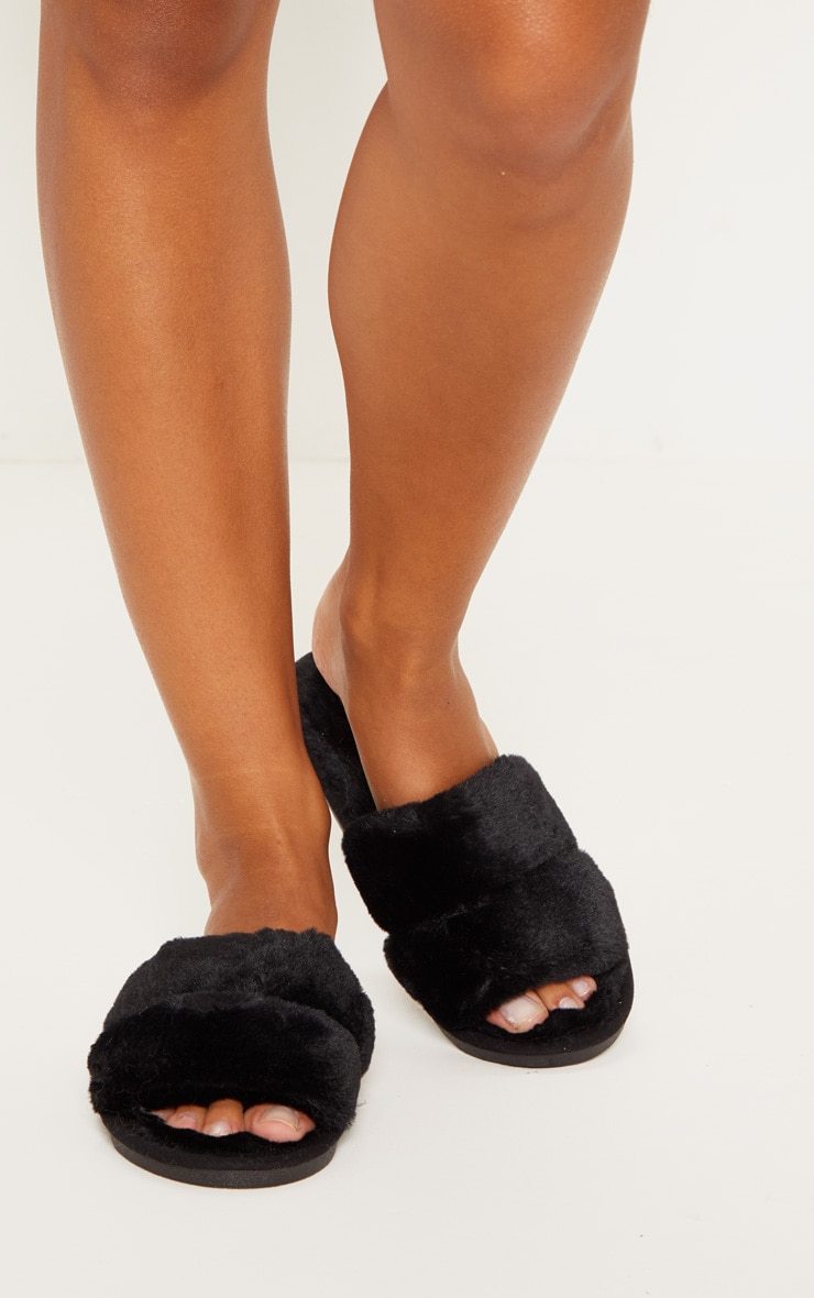 Black Fluffy Two Strap Slippers 2