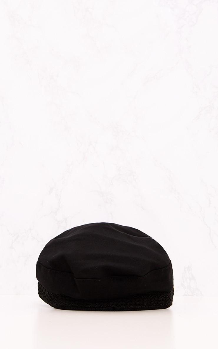 Black Flat Top Baker Boy Hat 4