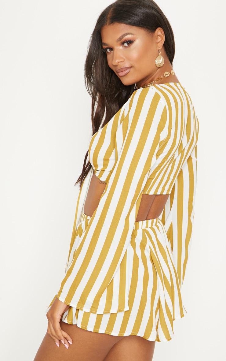 Mustard Flute Sleeve Tie Front Stripe Blouse 2