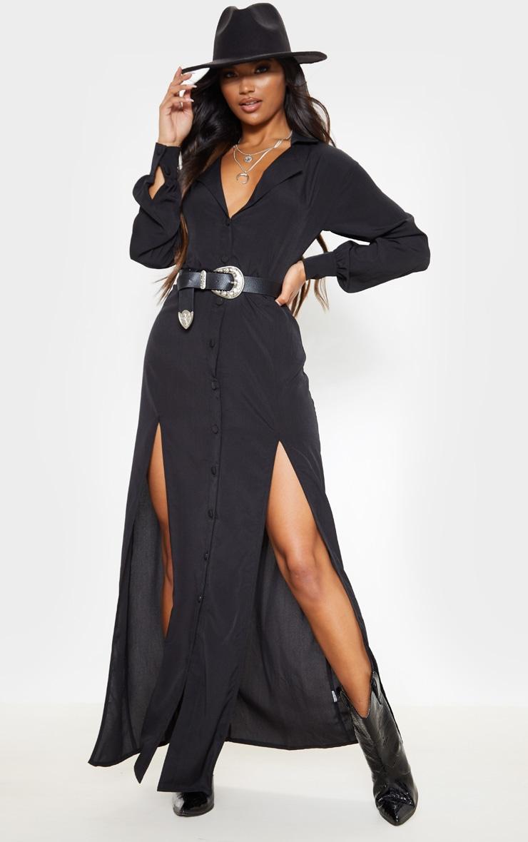 Black Split Front Maxi Shirt Dress 4