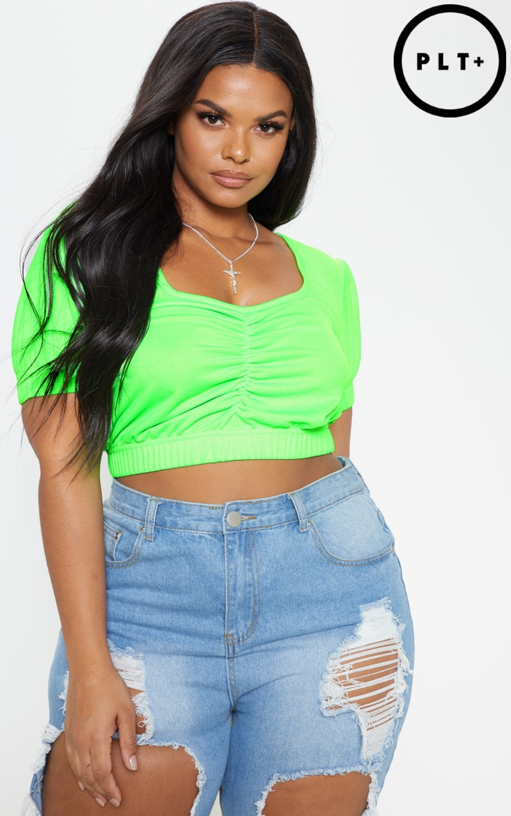 Plus Neon Lime Ruched Detail Crop Top 1