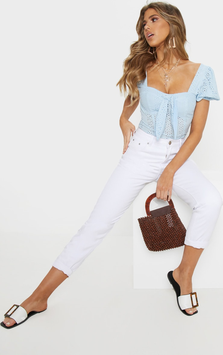 Pale Blue Broderie Anglaise Puff Sleeve Tie Front Top 4