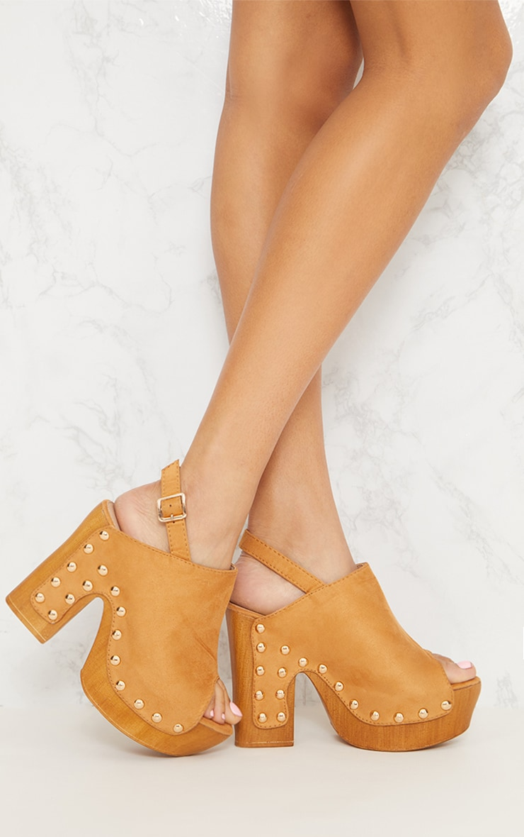 Tan Studded Slingback Heeled Mule 1