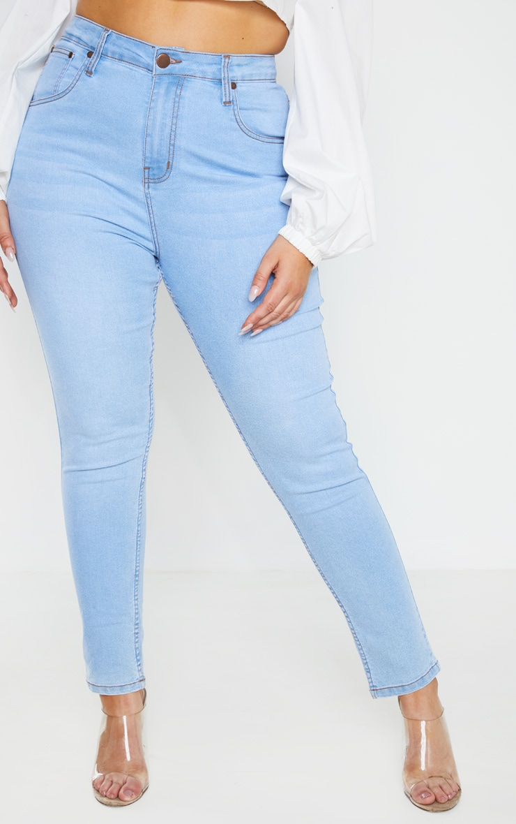Plus Light Wash High Waisted Skinny Jean 2