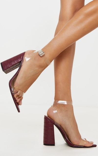 Burgundy Croc Clear Strap Block Heel Point Toe Sandal