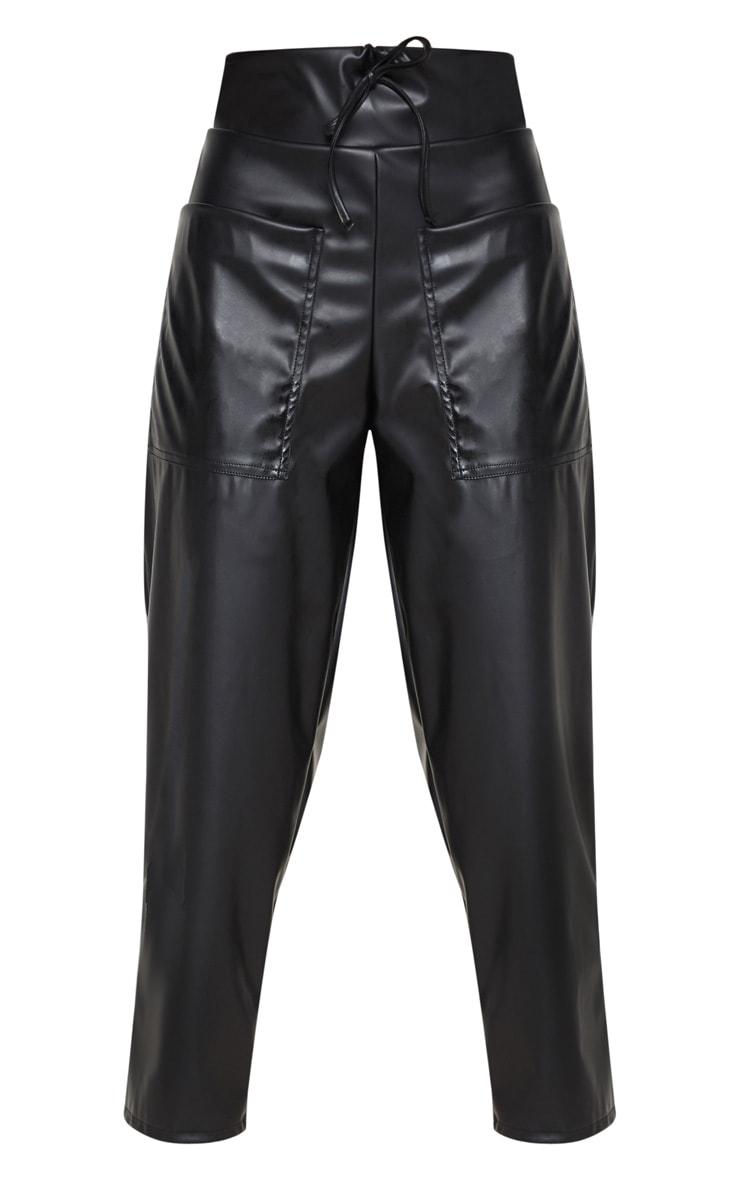Black Pocket Detail Faux Leather Culotte 3