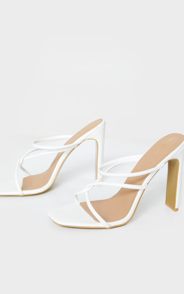 White Flat Heel Tube Strappy Mule Sandals 4