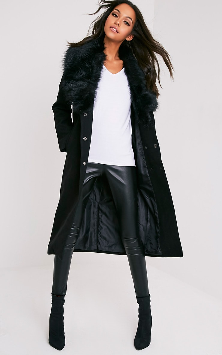 5650d764f Black Faux Fur Collar Double Breasted Coat