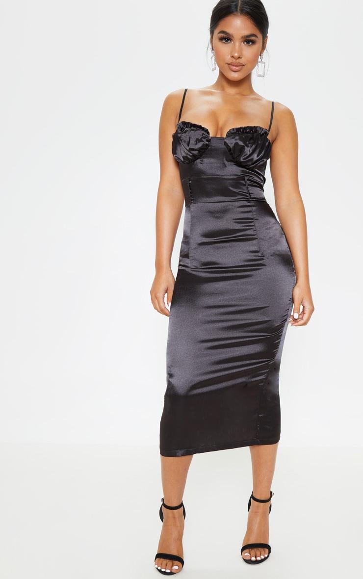 209e99417916 Petite Black Satin Frill Cup Detail Midi Dress | PrettyLittleThing USA