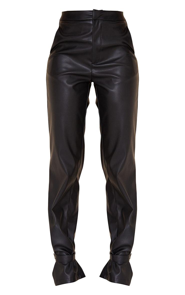 Pantalon droit en similicuir noir à détail chevilles 5