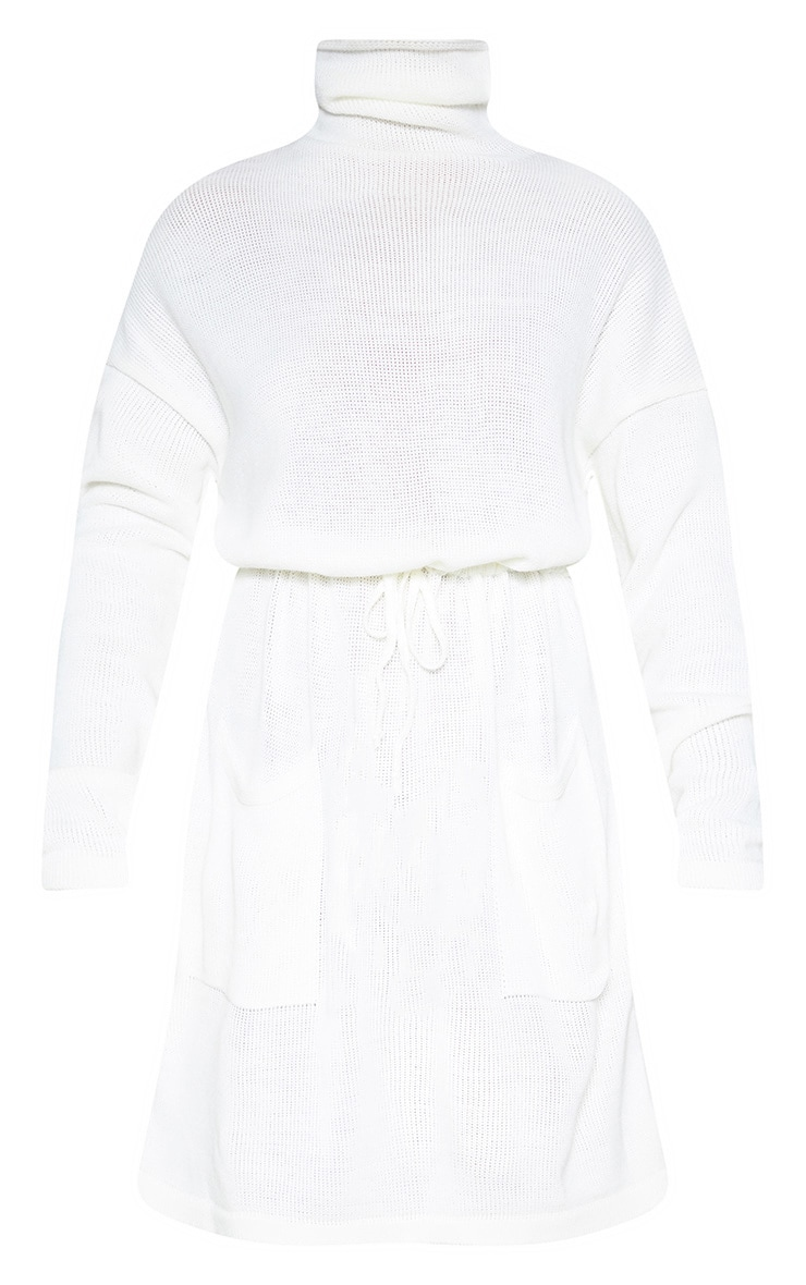 Cream Ruched Waist Knitted Dress 3