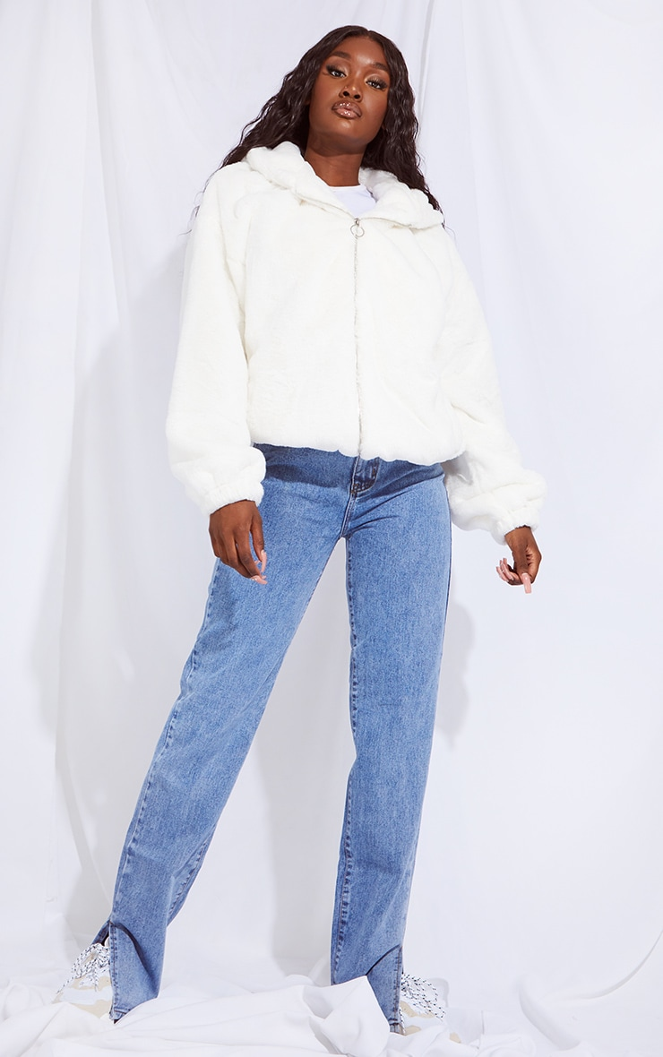 Tall Cream Faux Fur Hooded Balloon Sleeve Reversible Jacket 3