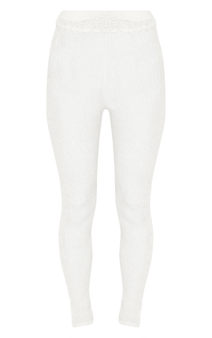 Cream Open Knit Cropped Pants 2