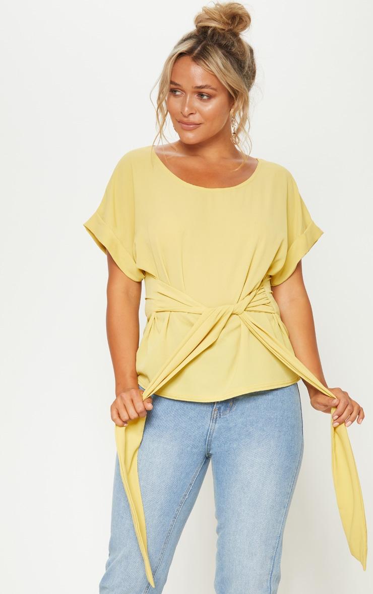 Pale Olive Short Sleeve Belted Top