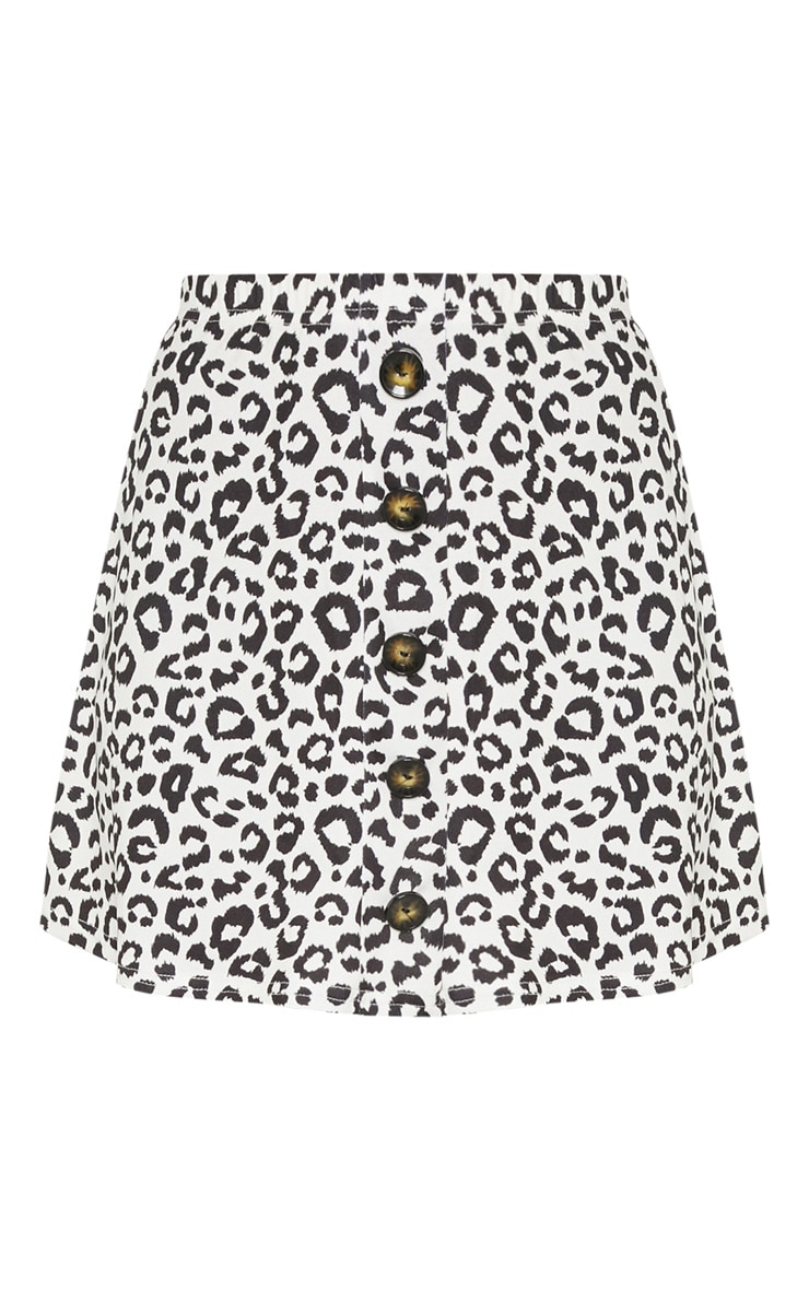Leopard Print Printed Button Front A Line Skirt 3
