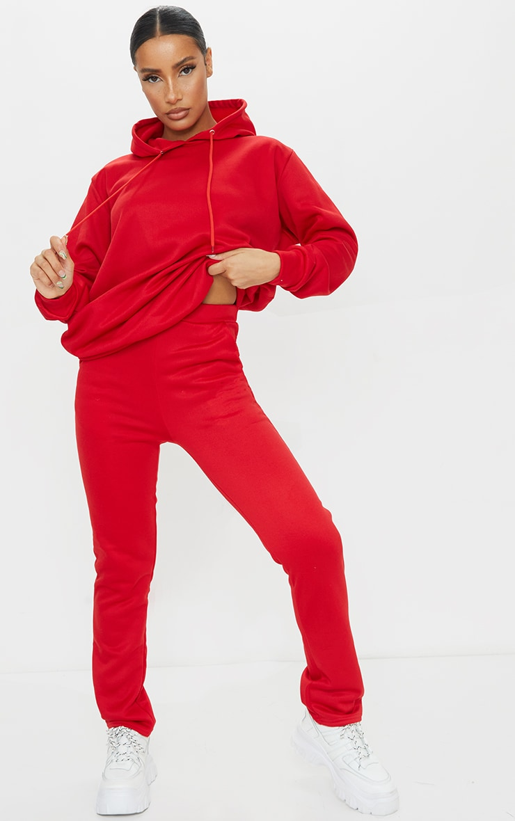 Red Oversized Sweat Hoodie & Straight Leg Jogger Set 3