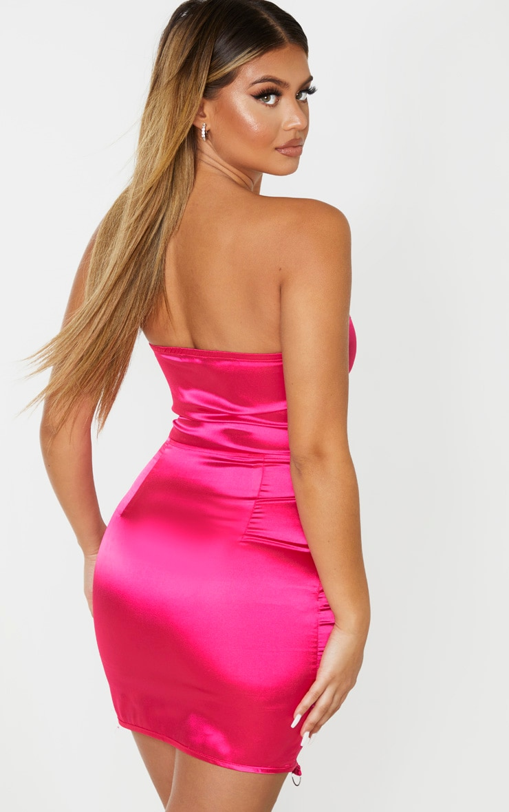Hot Pink Satin Lace Up Detail Bandeau Bodycon Dress 2