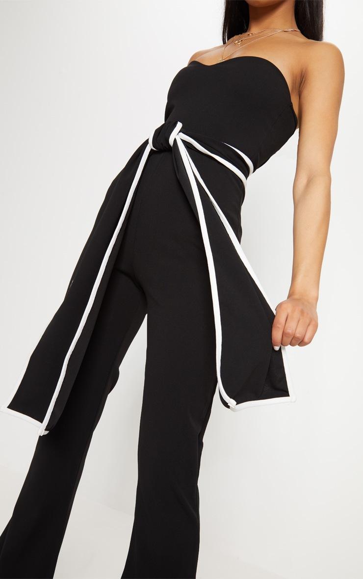 Black Bandeau Binded Tie Waist Detail Jumpsuit 5