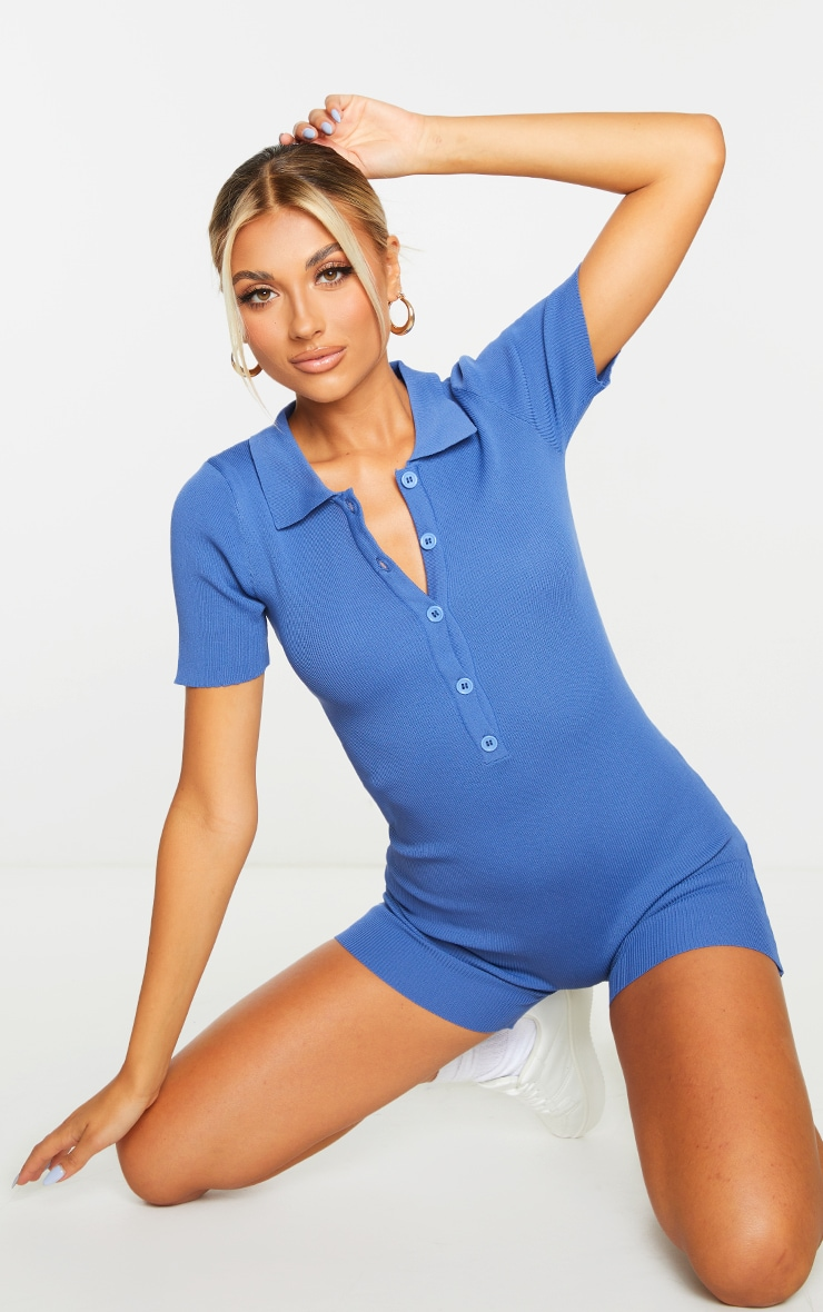 Blue Ribbed Collared Button Up Knitted Playsuit 1