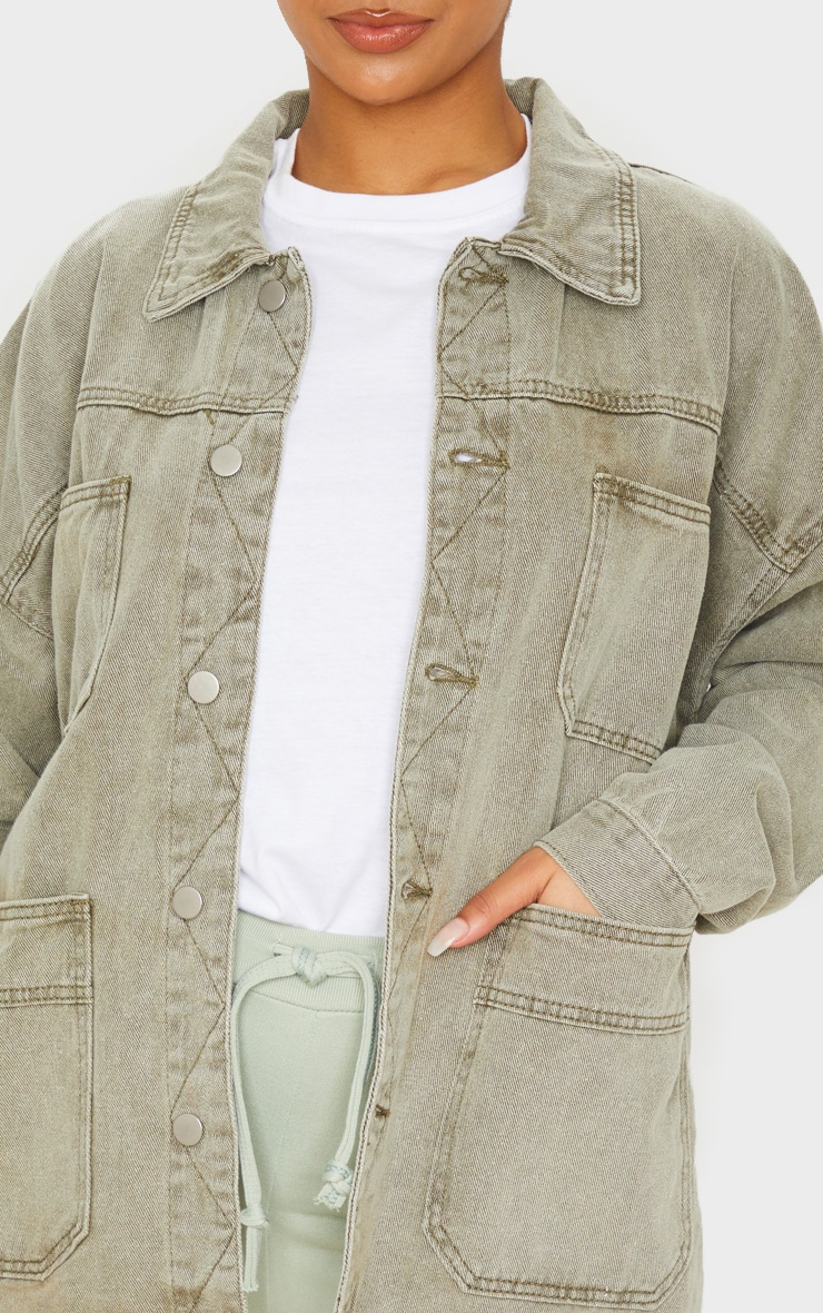Khaki 4 Pocket Utility Long Denim Jacket 5