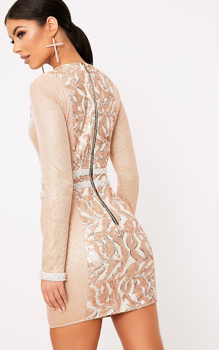 Selenia Rose Gold Premium Sequin Panelled Bodycon Dress 2