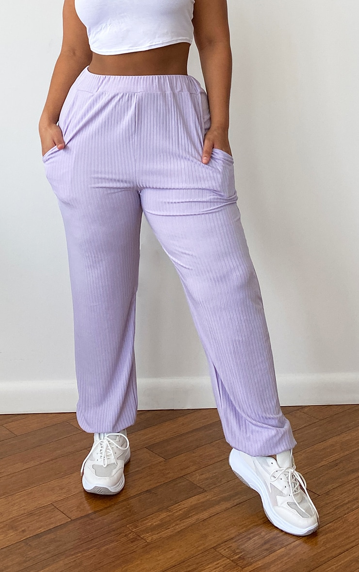 Plus Lilac Rib Pocket Detail Joggers 2