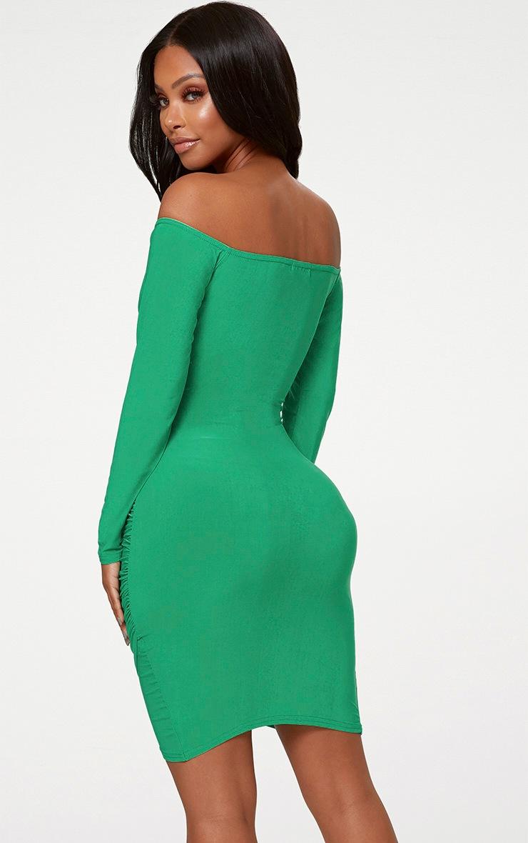 Shape Bright Green Slinky Ruched Detail Bardot Dress  2
