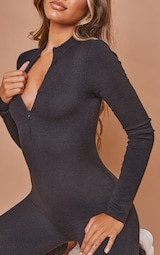 Black Zip Up Knitted Jumpsuit 4