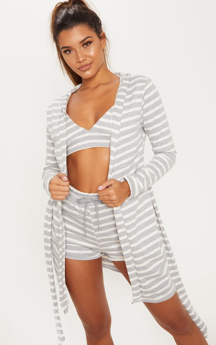 Grey Striped Jersey Robe