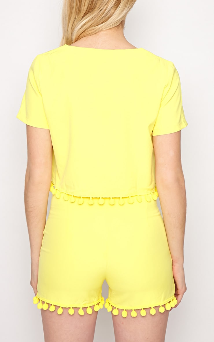 Sierra Yellow Pom Pom Crop Top  2
