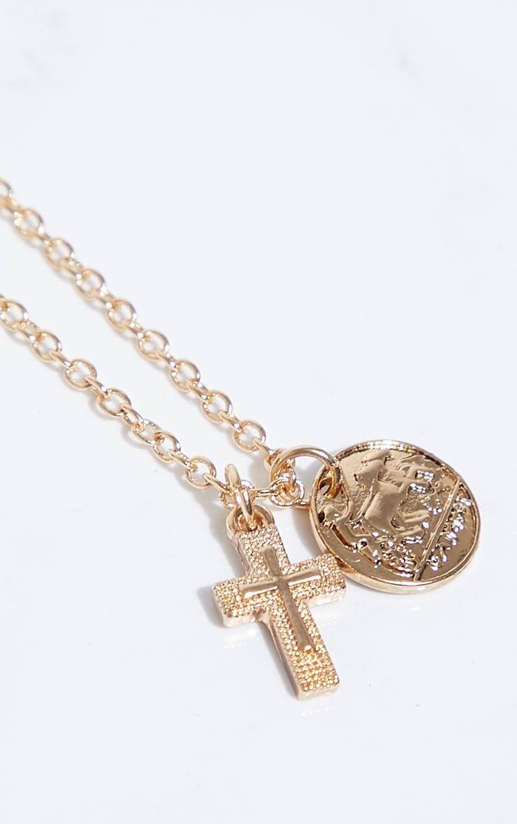 Gold Renaissance Mini Coin Cross Necklace 4