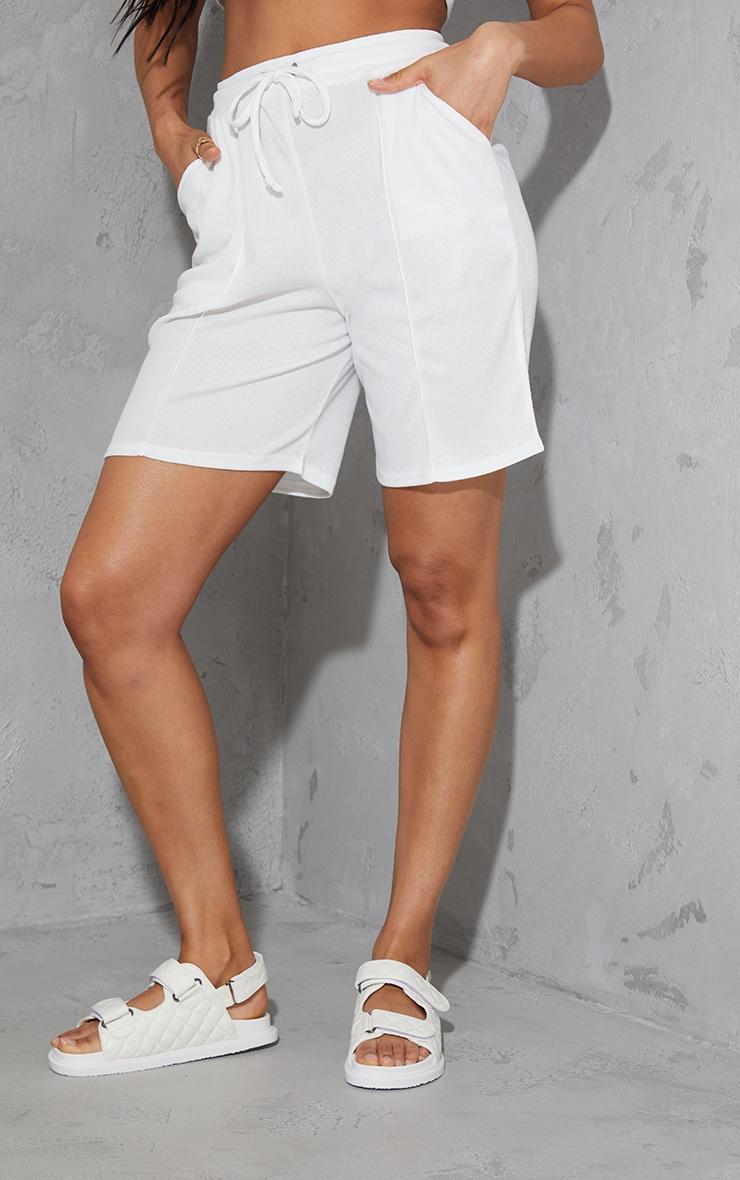 Cream Rib Seam Front Longline Shorts 2